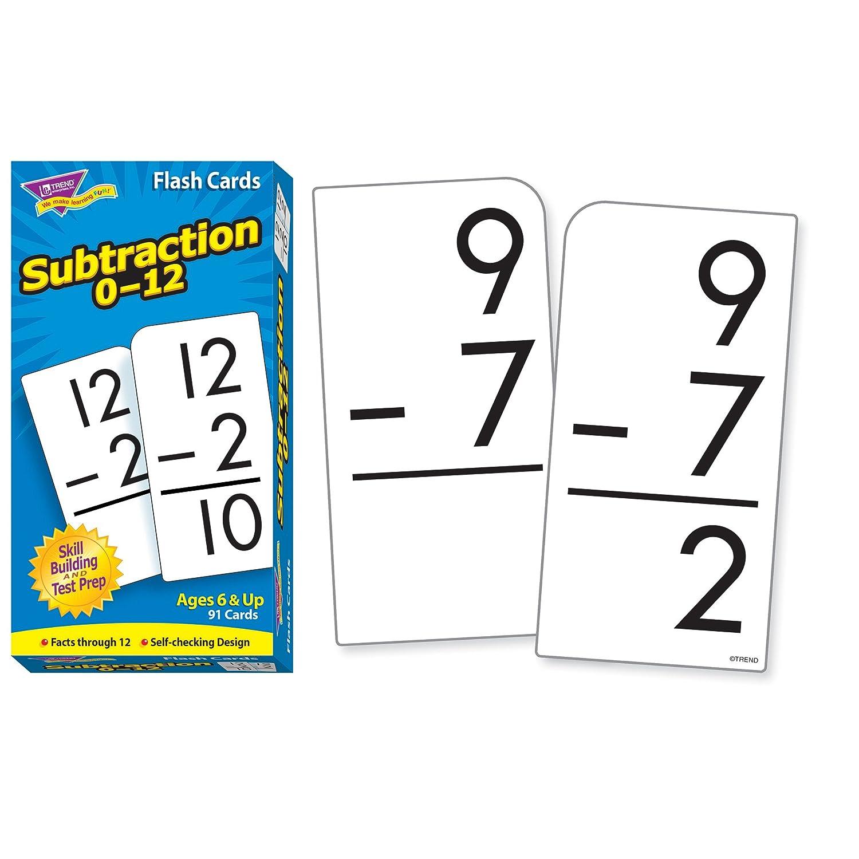 worksheet Subtraction Flash Cards amazon com trend enterprises math flash cards subtraction 0 12 box of 91 indus
