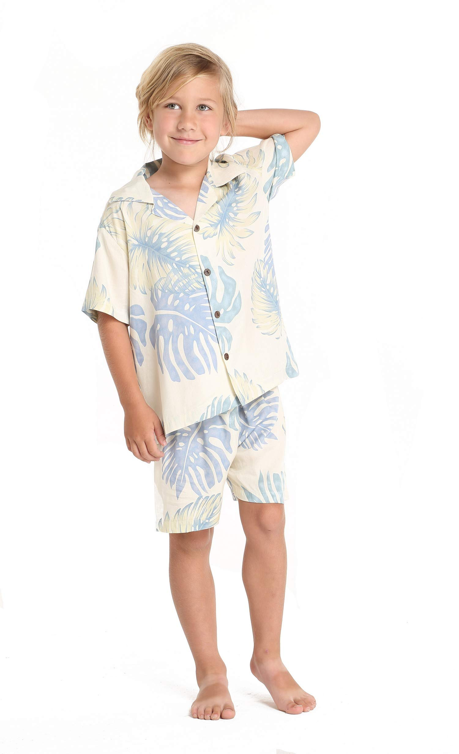 Matching Mother Son Hawaiian Luau Outfit Poncho Dress Shirt in Palm Leaves Cream Women One Size Boy 8 by Hawaii Hangover (Image #2)