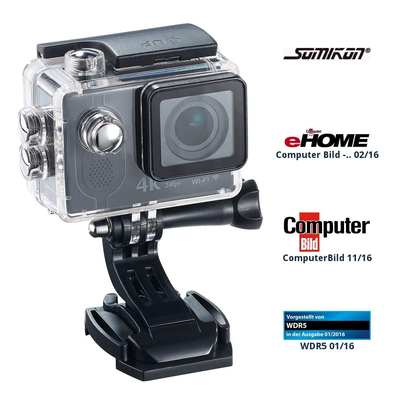 Somikon Action Kamera 4K: 4K-Action-Cam mit UHD-Video bei 24 fps, 16-MP-Sony-Sensor, IP68, WLAN (Fahrrad Kamera)