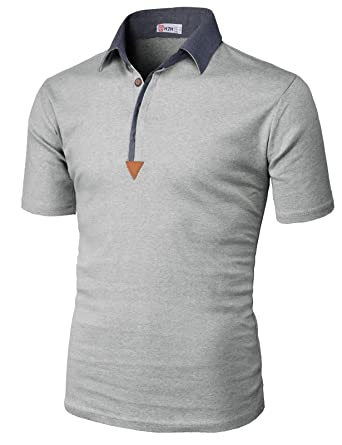 3ac91097 H2H Mens Casual Slim Fit Short Sleeve Button Down Color Effect Collar Polo  Shirts Gray US