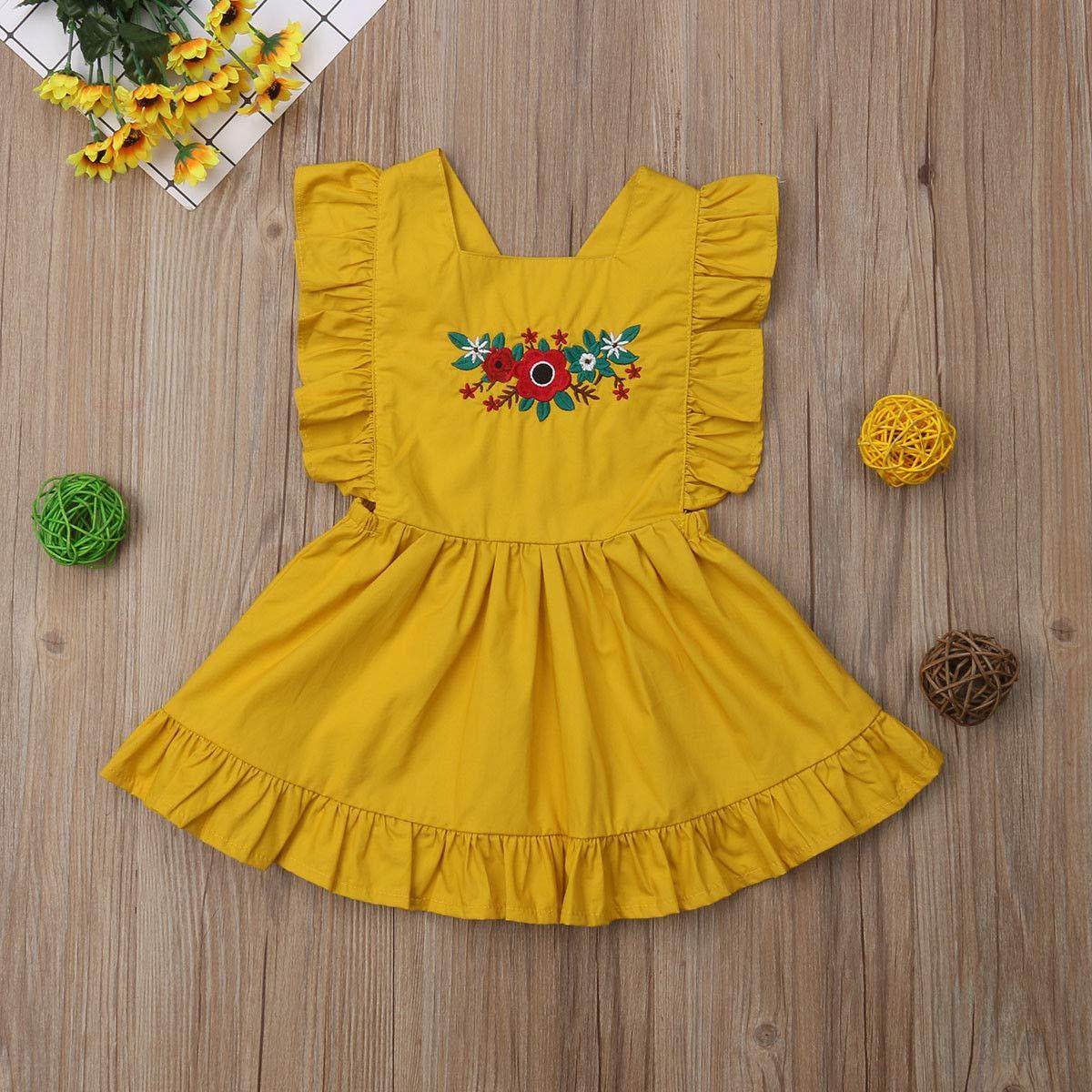 ZAXARRA Toddler Kids Baby Girls Sleeveless Ruffle Dress Tutu Skirt Overalls Outfits
