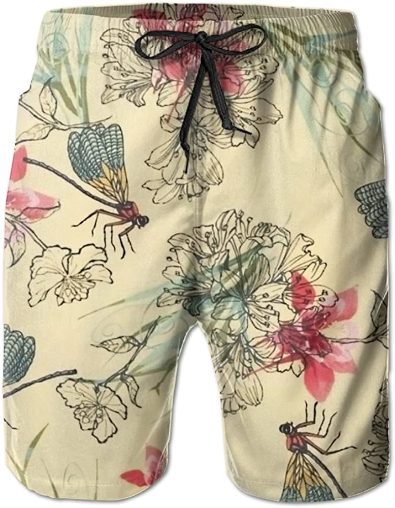 NGFF Chinese Style Flowers and Dragonflies Summer Casual Style Adjustable Beach Home Sport Shorts