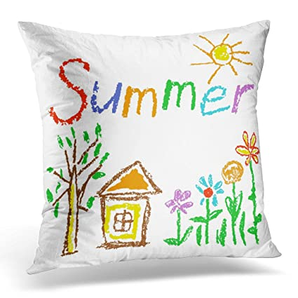 Amazon Sdamase Throw Pillow Cover Wax Crayon Like Kid`S Drawn Best Children's Decorative Pillows