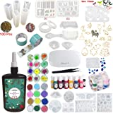 UV Epoxy Resin Crystal Clear Transparent Starter Kit 24 Molds 17 Bezels & Pigments & Glitters
