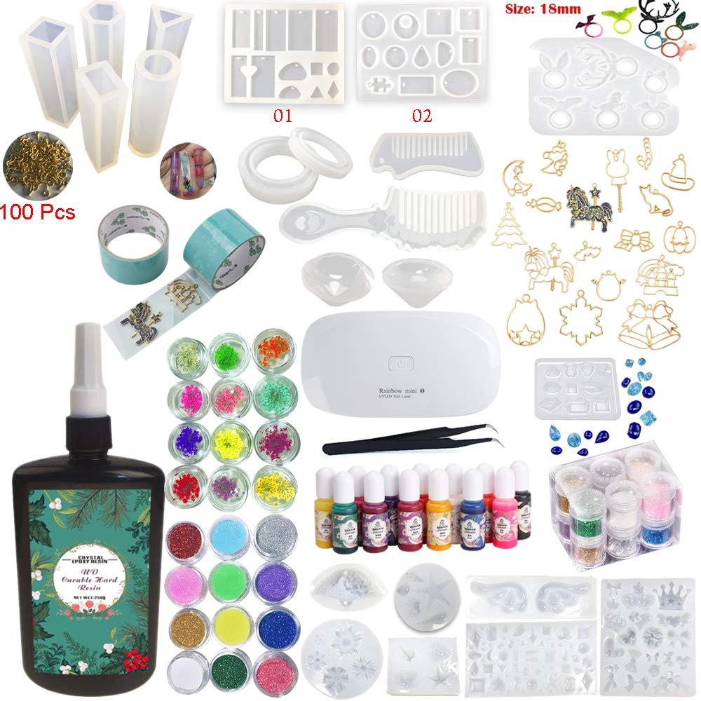 Resina Epoxi UV Transparente Kit para Manualidades 24 Moldes 17 Biseles + Pigmentos + Brillos & Adornos + Lámpara + Pinza para Pendientes Colgantes Collares ...