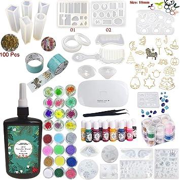 Resina Epoxi UV Transparente Kit para Manualidades 24 Moldes 17 Biseles + Pigmentos + Brillos &