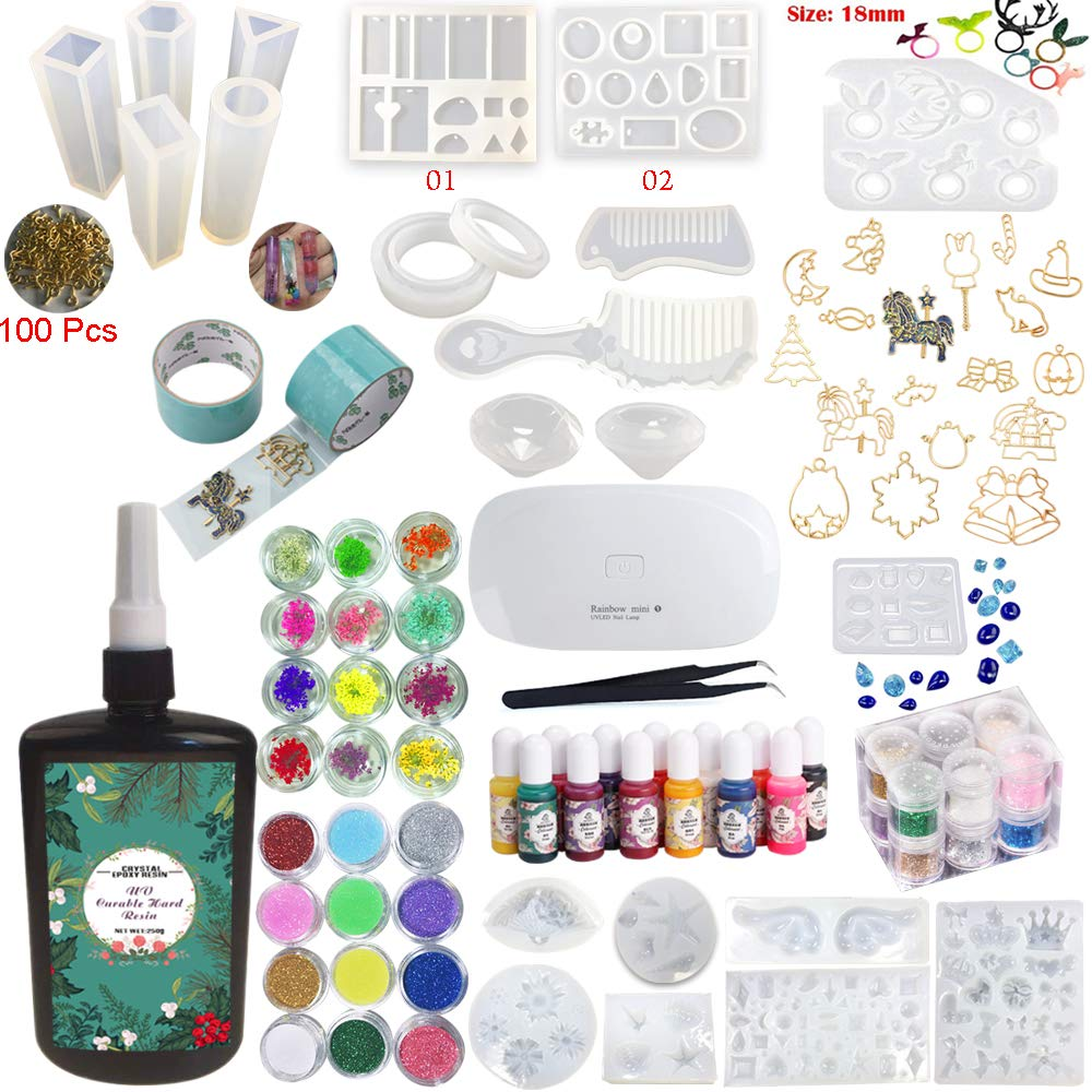UV Epoxy Resin Crystal Clear Transparent Starter Kit 24 Molds 17 Bezels & Pigments & Glitters & Embellishments & Tools & Lamp for Pendants Charms Earrings Rings Bracelets Diamonds Jewelry Making