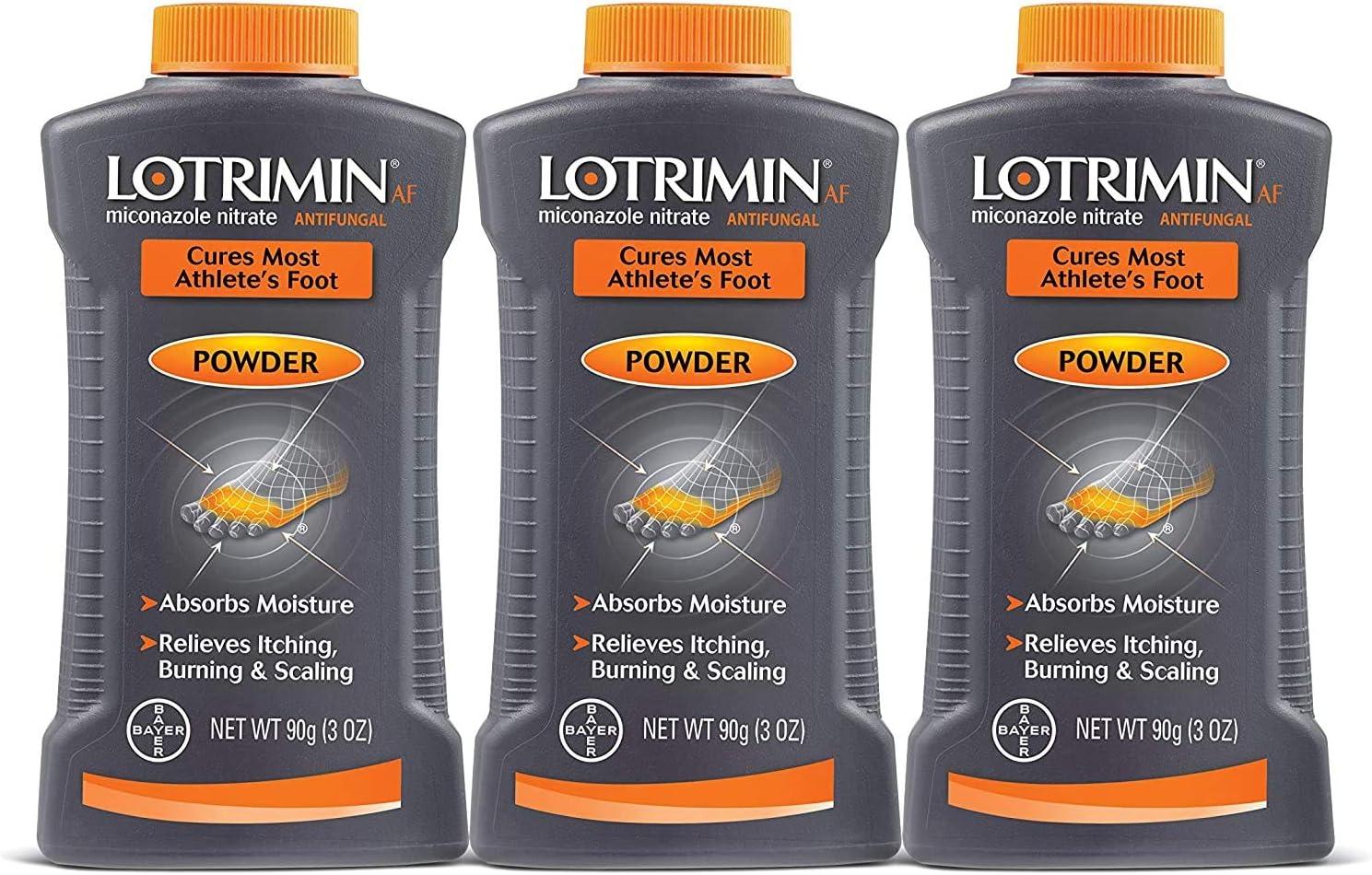 Lotrimin AF Athlete's Foot Antifungal Powder -Miconazole Nitrate 2% Treatment, 3 Oz (Pack of 3), 9 Oz