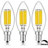 TAMAYKIM C35 6W Regulable Bombilla Filamento LED - 2700K Blanco Cálido 600 Lúmenes - 6 Watts Consume - Equivalente 60W - Casquillo E14 - Forma Torpedo - Brillo Ajustable - 360° Ángulo del Haz - Pack de 3