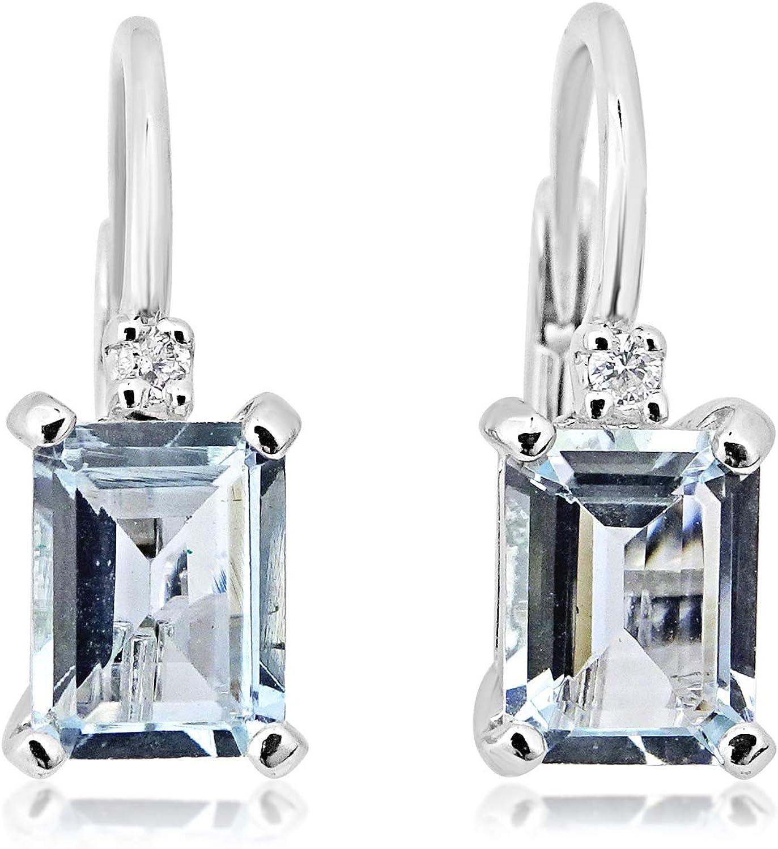 MILLE AMORI ∞ Pendientes Mujer Oro y Diamantes - Oro Blanco 9 Kt 375 ∞ Diamantes 0.04 Kt - Florence