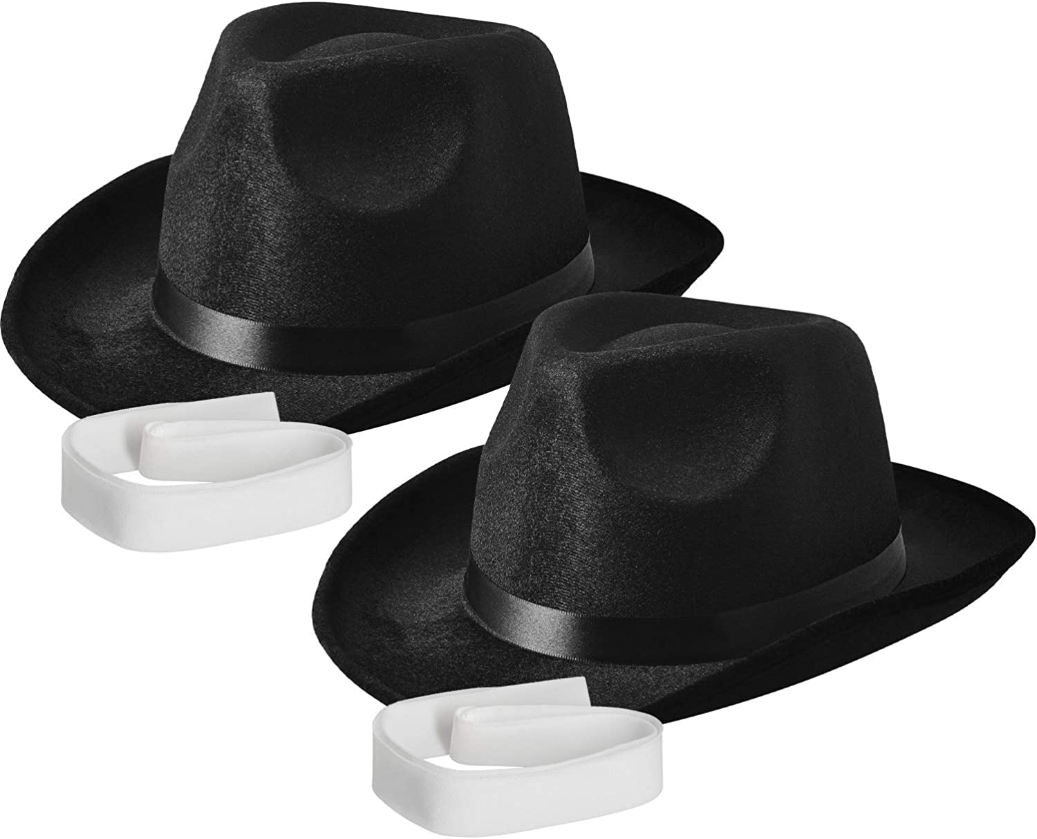 Fedora Hat, Black Pinched Hat Costume Accessory + White Band