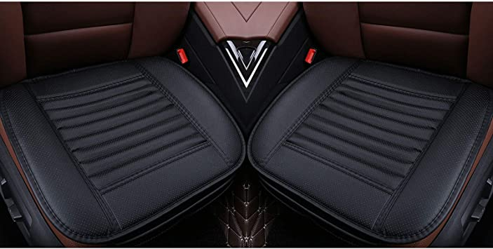 2pc Copap Breathable Front Seat Cushion Covers Filling Bamboo Charcoal Edge Wrapping Car Interior Seat Pad Mat for Auto Supplies Office Chair with PU Leather Black