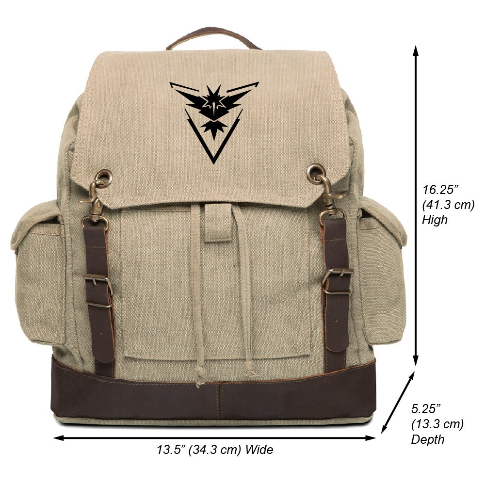 Pokemon TEAM INSTINCT Vintage Canvas Rucksack Backpack with Leather Straps