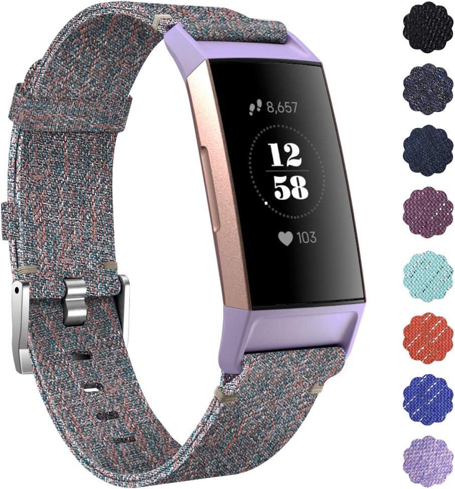 KIMILAR Pulseras Compatible con Fitbit Charge 4 / Charge 3 Correa Tejid, Correa de Recambio Nylon Reemplazo de Banda de la Muñeca Pulseras para Charge 4/Charge 3/SE