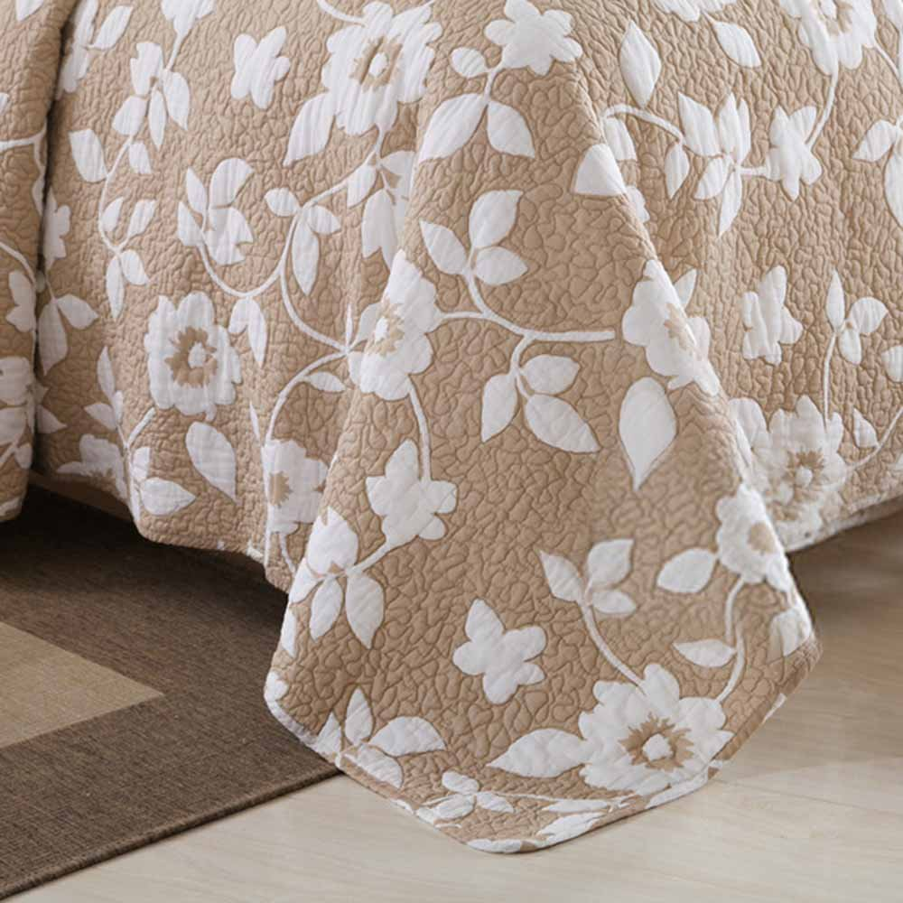 MicBridal 100% Cotton Reversible Coverlet Set Floral Printed Quilt Sets 3 Pieces Bedspread with Shams (Queen, Coffee) by MicBridal (Image #4)