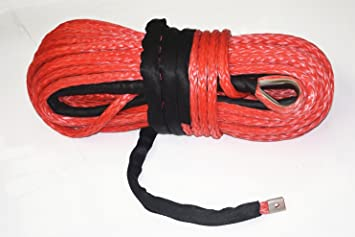 Red 3//8inch*100ft ATV UTV Winch Line,Synthetic Rope,Winch Cable with Sheath