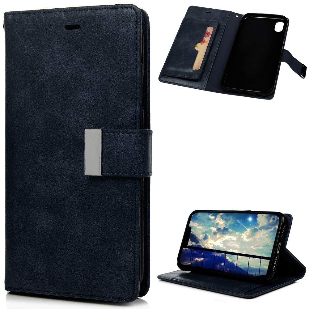 Mlorras iPhone XR Hülle, PU Leder Wallet Case Cover Klappbares Magnetverschluß Holder Handyhülle Brieftasche Schutzhülle Klappen mit Integrierten Kartensteckplätzen Hellbraun MM/S65LL/70