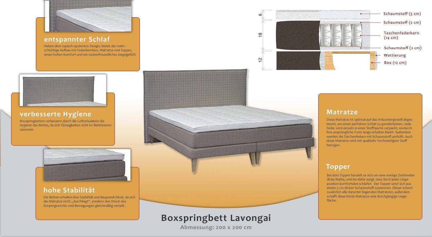 Boxspringbett LAVONGAI, Box: Holz, Matratze: Taschenfederkern ...