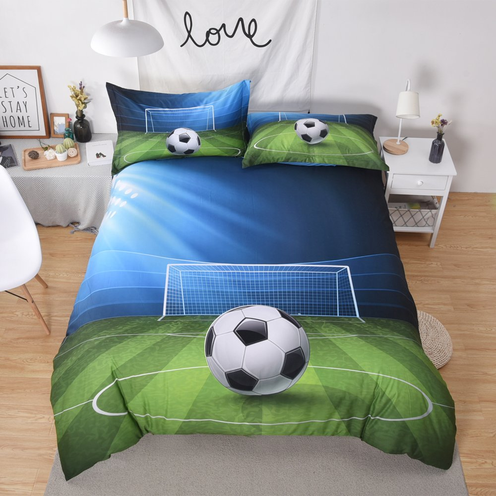 Luxury Soft Brushed 1800 Series Microfiber Duvet Cover Set 3pc, 3D Print Football Soccer Field for Boys- Hotel Quality & Hypoallergenic with Zipper Closure & Matching Shams
