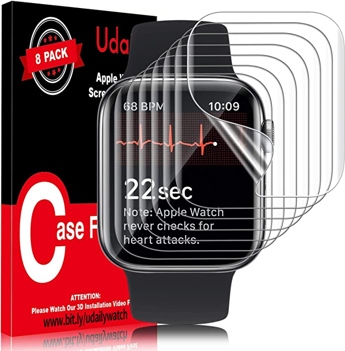 Udaily 8 Pack Screen Protector for Apple Watch 44mm Series 4/5/6 and Apple Watch SE 44mm, Max Coverage Bubble-Free Flexible TPU Film for iWatch 44mm, Easy to Install with Detailed Video, HD Clear