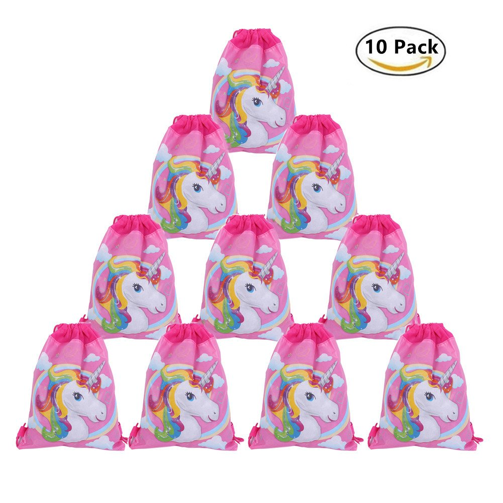 10 Pack Unicorn Drawstring Bags Party Favors, Party Supplies for Kids Birthday