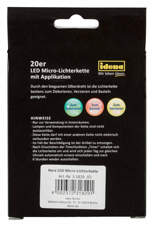 Idena 31829 LED-Lichterkette, mit 20 kleinen Herzchen, Eisen, Bunt ...