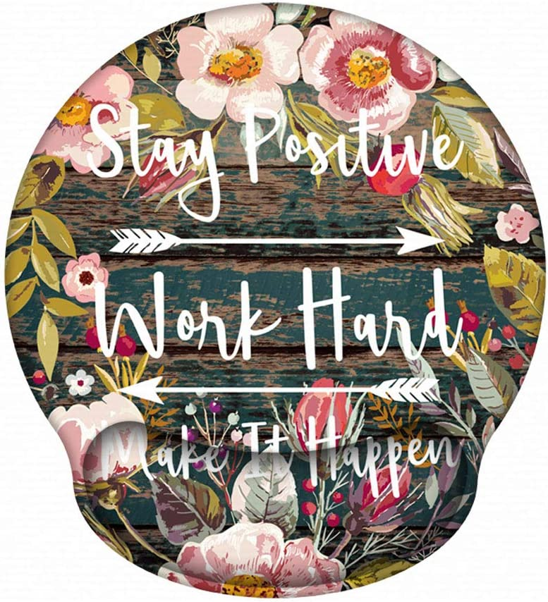 Ergonomic Mouse Pad with Gel Wrist Rest Support, iLeadon Non-Slip Rubber Base Wrist Rest Pad for Home, Office Easy Typing & Pain Relief, Pink Flowers