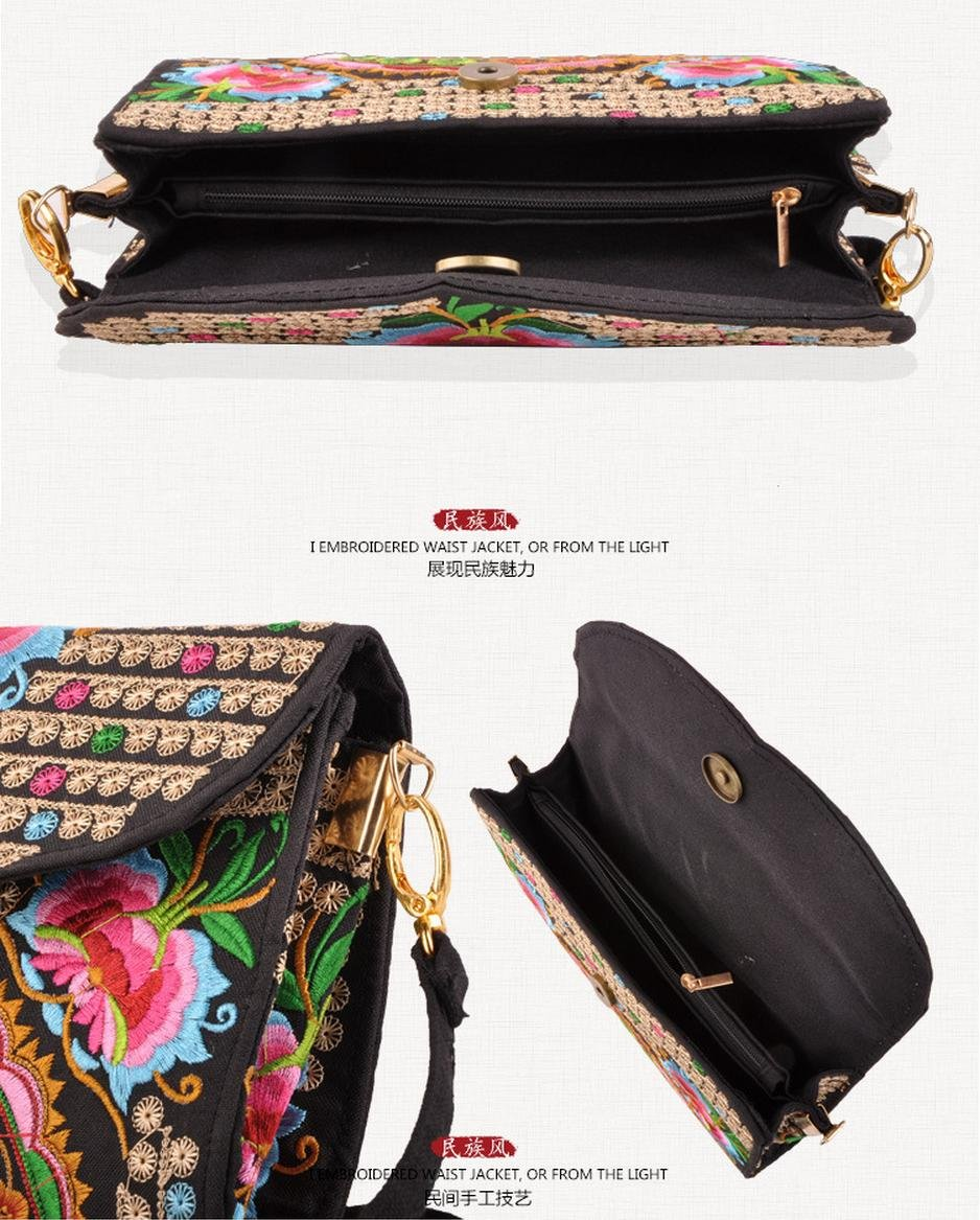 Chinese Embroidered Casual Canvas Women's Wallets Zipper Closure Purse Wristlet