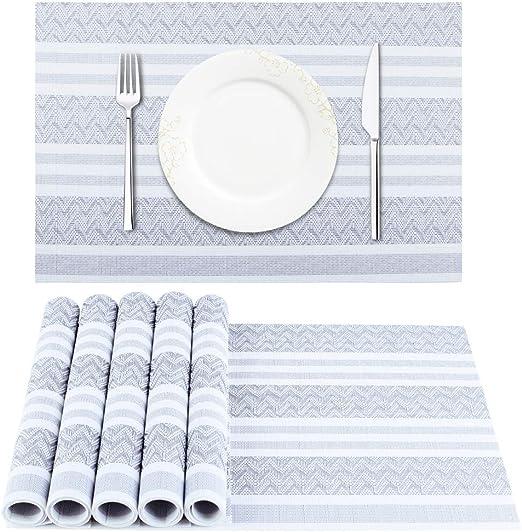 Set of 6 BETEAM Placemats Aqua Heat-Resistant Placemats Stain Resistant Anti-Skid Washable PVC Table Mats Woven Vinyl Placemats