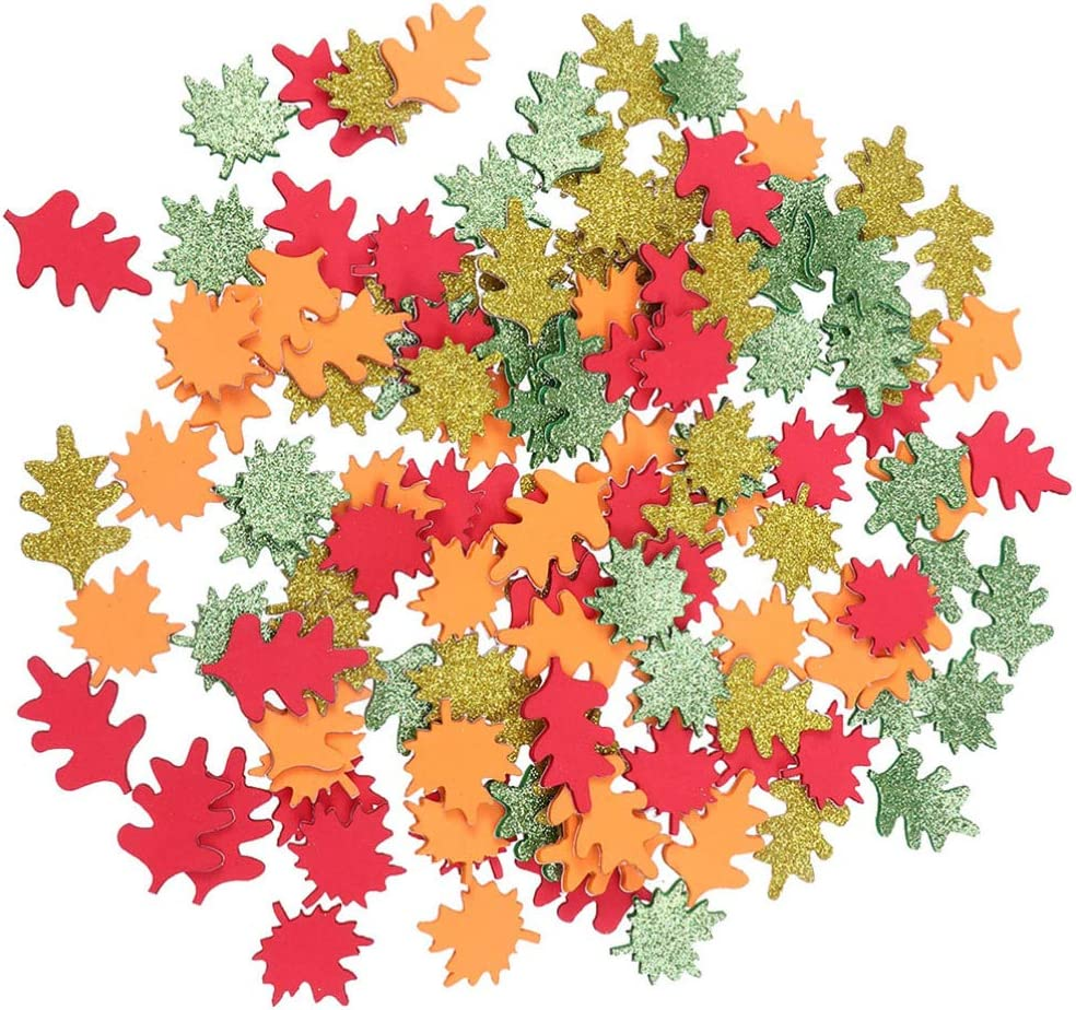 SUPVOX Fall Maple Leaves Glitter Craft Art Accessory for Thanksgiving Table Party Decorations 120pcs Assorted Color