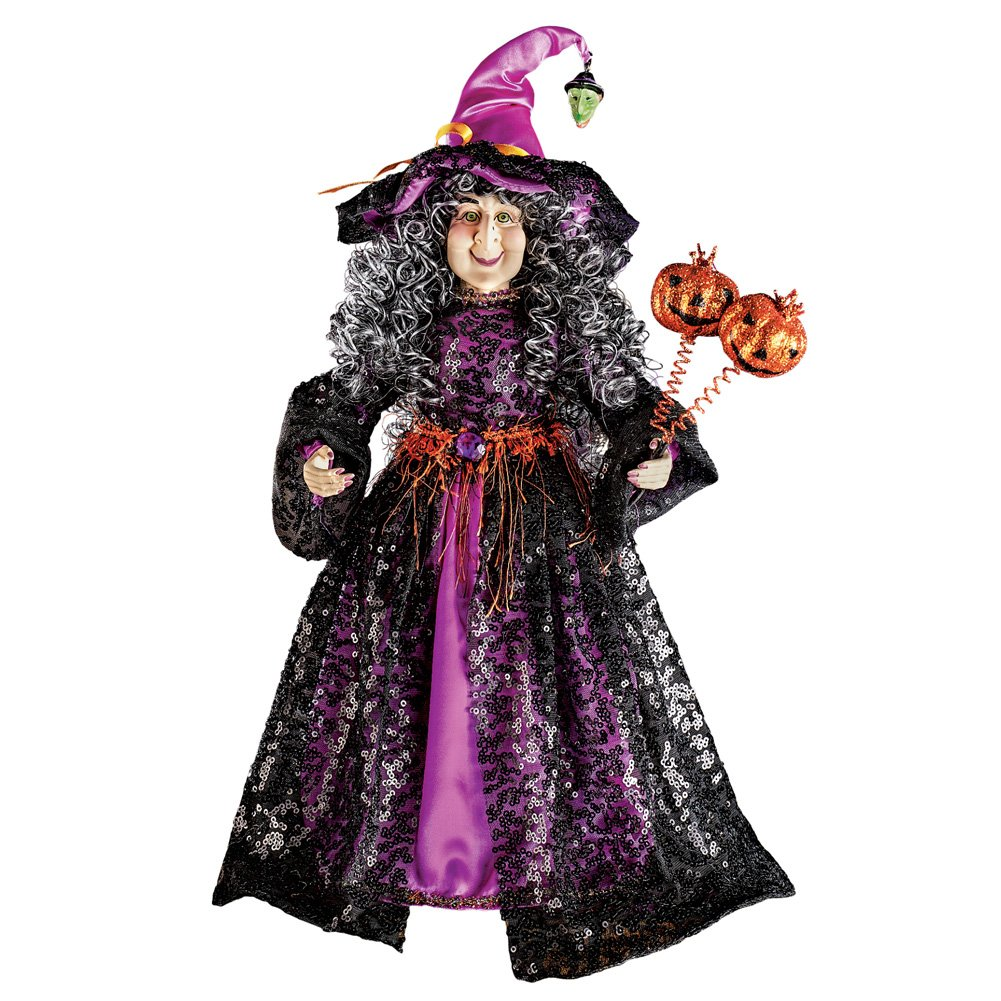 Collections Etc Decorative Indoor or Outdoor Halloween Witch Statue with Pumpkins Accents, Black, Purple, Orange Winston Brands