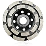 SHDIATOOL 4 Inch Diamond Double Row Grinding Cup Wheel for Concrete Masonry Granite Marble Diamond Grinding Disc Fits…