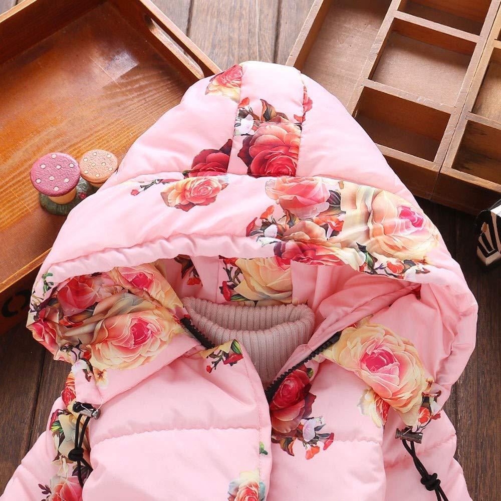 Enfant Imprim/é Floral Veste dhiver Manteau /à Capuche Blouson Robe Veste Coupe-Vent BaZhaHei Blouson B/éb/é Fille