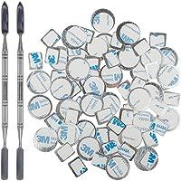70 Stks Metalen Stickers voor magnetisch palet, YuCool Palet Lege Oogschaduw Make-up Palet + 2 Depotting Spatel (35 Stks…