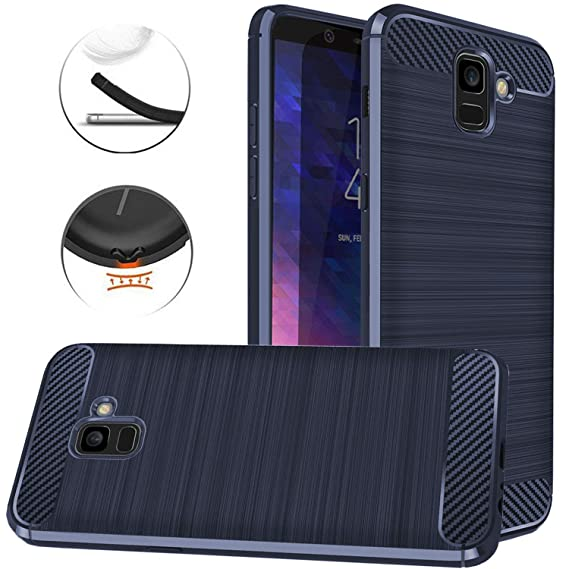new products 90e47 cbb69 Dretal Galaxy A6 Case, Carbon Fiber Shock Resistant Brushed Texture Soft  TPU Phone case Anti-Fingerprint Flexible Full-Body Protective Cover for ...