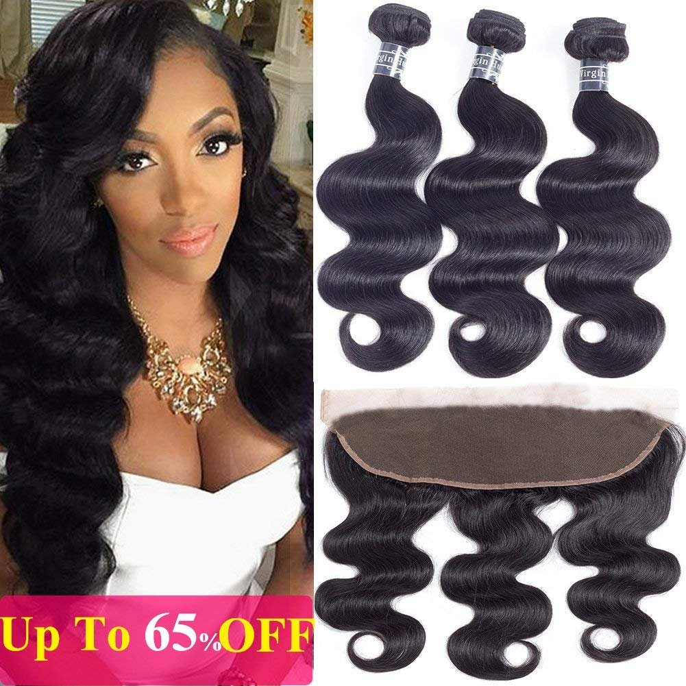 Amella Hair Brazilian Body Wave Frontal Free Part(18 20 22+16 Frontal) 8A 100% Unprocessed Brazilian Body Wave Frontal with Baby Hair Natural Black Color
