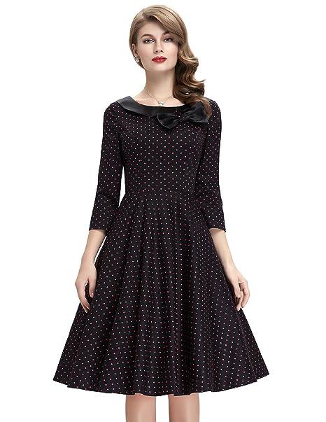f583328033ebb7 Belle Poque 3/4 Sleeve Polka Dots 1950's Rockabilly Vintage Swing Dress  Black-2, Medium at Amazon Women's Clothing store: