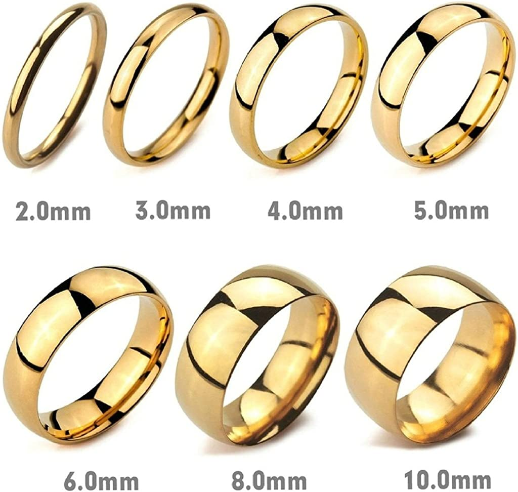 Bishilin 10mm Stainless Steel Wedding Rings for Men Gold Color Size 15