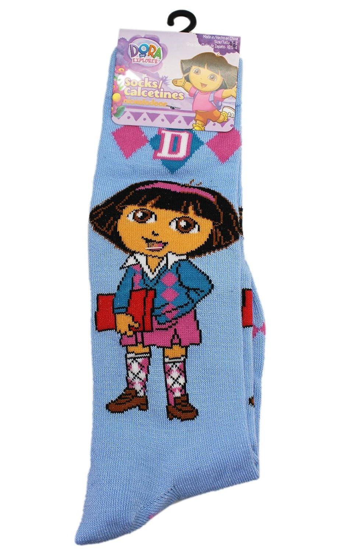 Dora the Explorer Light Blue Class Time Crew Socks Size 6-8, 1 Pair