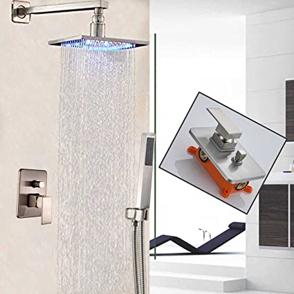 Shower Equipment Shower Faucets Chrome Silver Wall Mount Bathroom Faucet Set Rain Shower Head Waterfall Hand Shower 1 Handle Mixer Tap