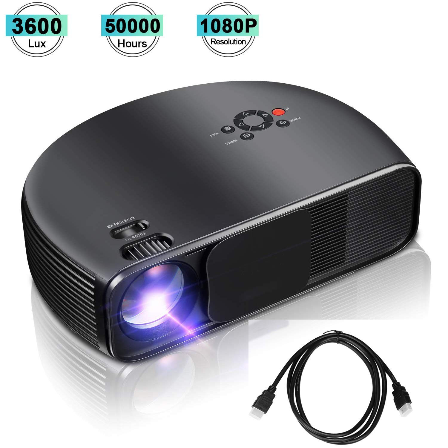 XINHUANG Proyector, Video proyector 3600Lux, proyector Full HD con ...