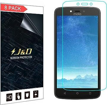 J&D Compatible para 8 Paquetes Moto C Plus Protector de Pantalla ...