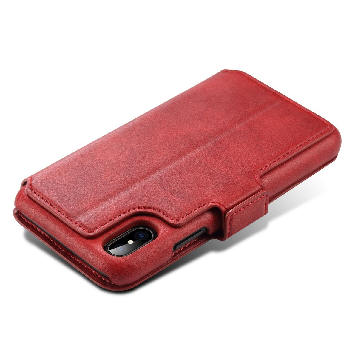 Scheam iPhone X Flip Cover, Case, Skins Card Slot [Stand Feature] Leather Wallet Case Vintage Book Style Magnetic Protective Cover Holder for iPhone X - Red by Scheam (Image #10)