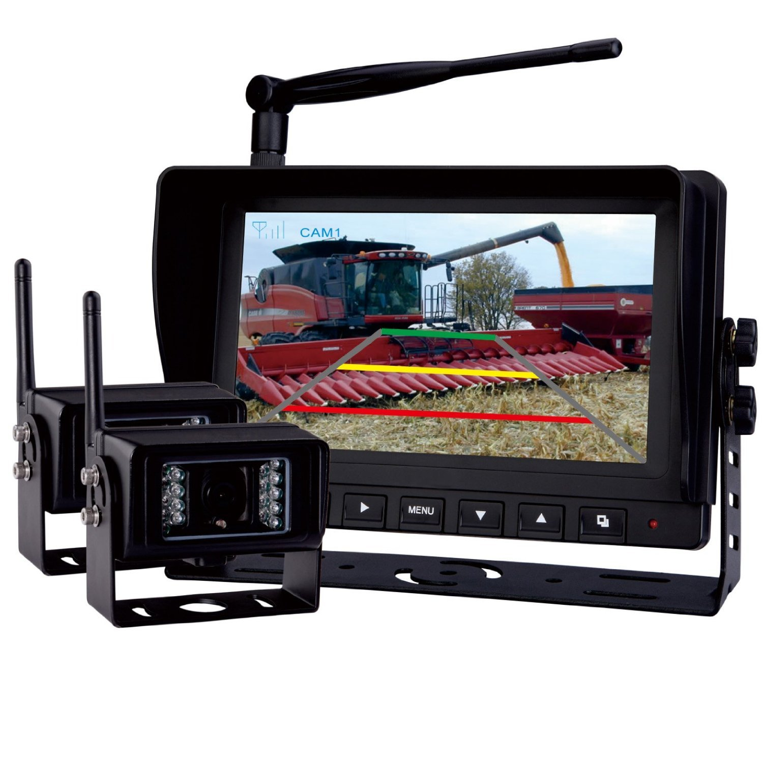 Rear View Backup Camera System, 7'' Digital Wireless Split LCD Monitor with Two Wireless Waterproof Ir Color Cameras for Excavator, Cement Truck, Farm Tractor, Trailer, 5th Wheel, Rv Camper, Heavy Truck