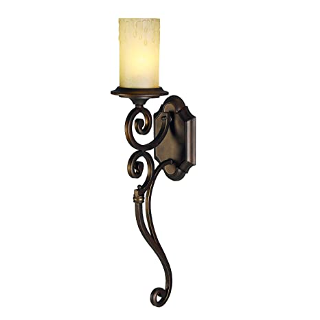 1eaa7f838 Chiaro 382021201 Classic Wall Light Metal Wrought Iron Brown Glass Candle  Beige Country Style 1 x 60W E27 excl  Energy Class A