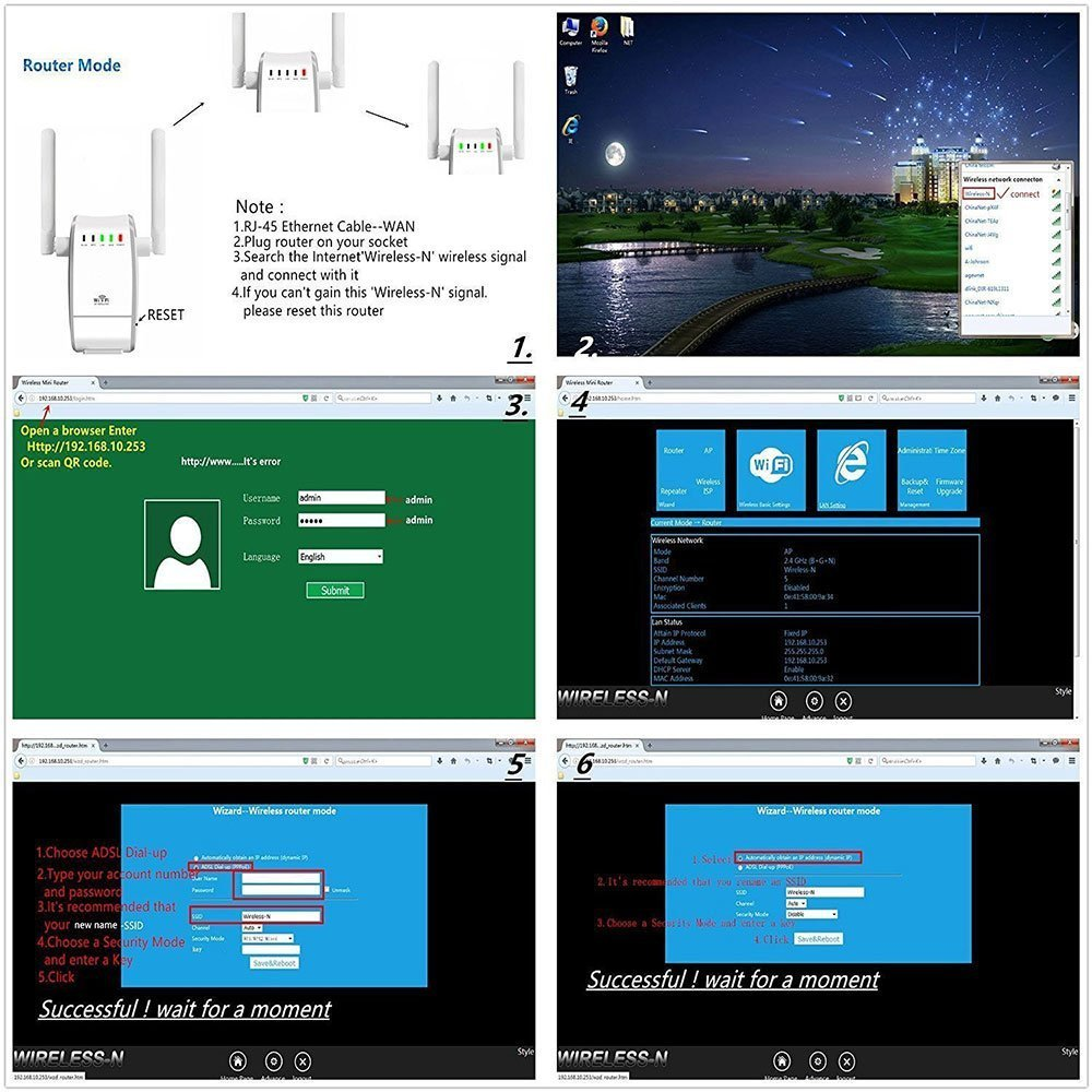 Netzwerk router , DHMXDC 300Mbps Multifunktions Mini: Amazon.de ...