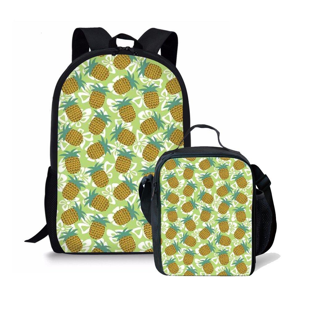Amzbeauty Pineapple School Bag Lunch Box Set 2 PCS Cute Personalized 17 inch Backpack AMZ-FUD-CG-HBC18222CG