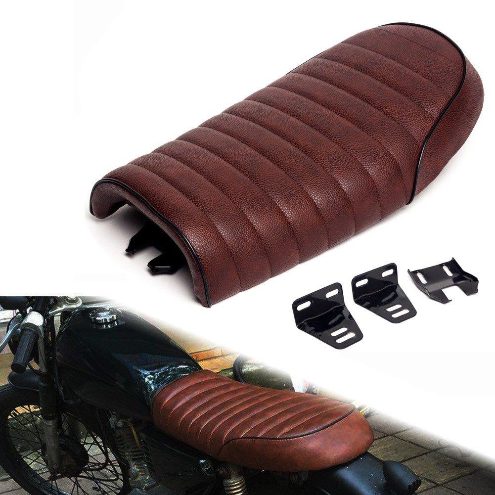 Triclicks Cafe Racer Sella Moto Vintage Con Staffa Di Montaggio Motorcycle Saddle Nero