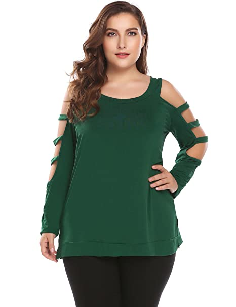 3d45dbf2c56c4d Involand Women s Plus Size Long Sleeve Cut Out Cold Shoulder Slit Pullover  Tops Casual Blouse green