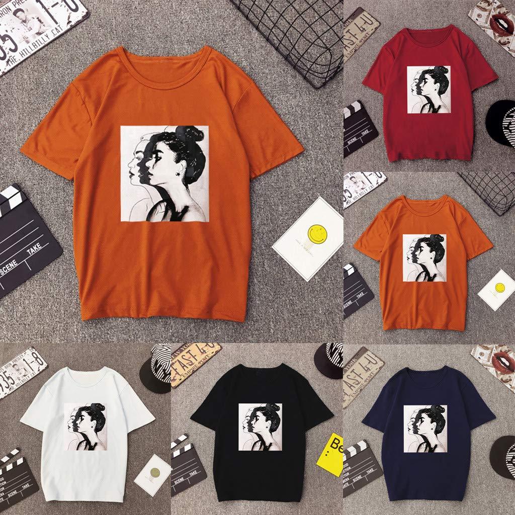 TOTOD Women Casual T-Shirt Portrait Print Short Sleeve Blouse Loose Top Summer Fashion Streetwear Orange